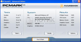 Нетбук  ASUS Eee PC 1201NL, результаты теста PCMark 05