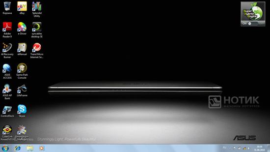 Ноутбук Asus U35Jc, рабочий стол Windows 7