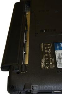 Ноутбук Asus K52Je : батарея вставлена в слот