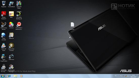 Ноутбук Asus K52Je : «рабочий стол» Windows