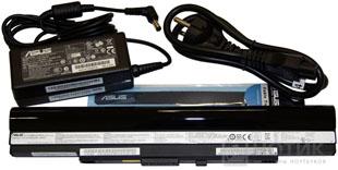 Ноутбук Asus UL80Jt : батарея, адаптер переменного тока, кабель подключения к электросети и ремешок для связывания