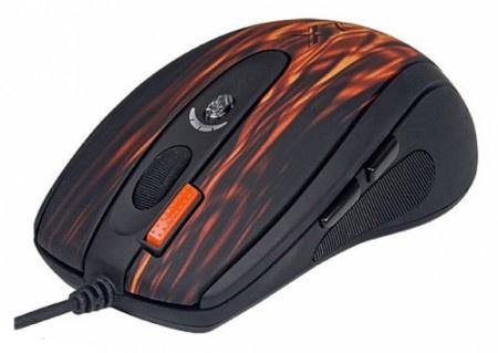 Мышь проводная A4Tech XL-750BK, 3600 dpi, Черный/Красный
