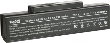 Аккумулятор TopON TOP-F3/TOP-A9 11.1V 4400mAh для Asus, MSI, RoverBook, Depo PN: A32-F3 A32-Z94 A32-F2 A32-K72 A32-N71 90-NFY6B1000Z аккумулятор topon top clev2200 4800mah for clevo 2200 2700с 2800t iru intro 1214 roverbook b410 b415 kt5 kt6 series