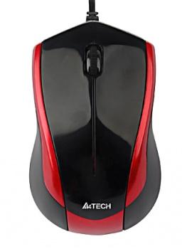 Мышь проводная A4Tech N-400-2 USB 1000dpi, Черный/Красный от Нотик