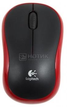 Мышь беспроводная Logitech M185 1000dpi, Черный/Красный (910-002240)