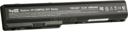 Аккумулятор TopON TOP-DV7 14.8V 4800mAh для PN: HSTNN-IB75, HSTNN-C50C, HSTNN-Q35C, 464059-121, HSTNN-DB75 аккумулятор topon top nx8220 14 8v 4800mah для hp pn pb992a hstnn ub11 hstnn ob06 hstnn lb11