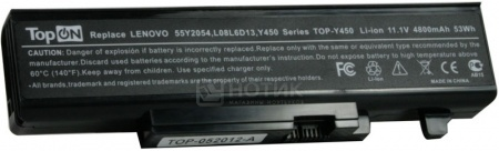 Аккумулятор TopON TOP-Y450-bp 11.1V 4800mAh для PN: 55Y2054 L08L6D13 L08O6D13 L08S6D13 НОТИК 1890.000