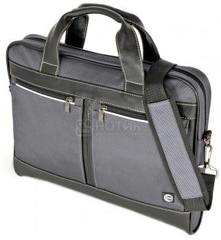 """Фотография товара сумка 15,6"""" Cross Case CC15-014, Кожа/Нейлон, Черный/Серый (17747)"""