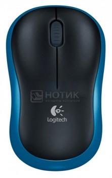 Мышь беспроводная Logitech M185 910-002239 1000dpi, Черный/СинийLogitech<br>Мышь беспроводная Logitech M185 910-002239 1000dpi, Черный/Синий<br>