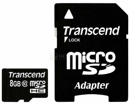 Карта памяти Transcend micro SDHC 8Gb class10 + adapter (TS8GUSDHC10)