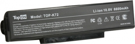 Аккумулятор TopON TOP-K72H 10,8V 6600mAh для Asus PN: A32-K72 A32-N71 A32-F3 аккумулятор topon top f3 top a9 11 1v 4400mah для asus msi roverbook depo pn a32 f3 a32 z94 a32 f2 a32 k72 a32 n71 90 nfy6b1000z