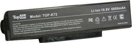 Аккумулятор TopON TOP-K72H 10,8V 6600mAh для Asus PN: A32-K72 A32-N71 A32-F3 аккумулятор для ноутбука oem 5200mah asus n61 n61j n61d n61v n61vg n61ja n61jv n53 a32 m50 m50s n53s n53sv a32 m50 a32 n61 a32 x 64 33 m50 n53s n53 a32 m50 m50s n53s n53sv a32 m50