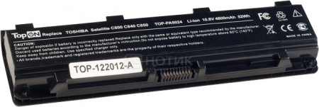 Аккумулятор TopON TOP-PA5024 10.8V 4800mAh для Toshiba PN: PA5023 PA5027 аккумулятор topon top clev2200 4800mah for clevo 2200 2700с 2800t iru intro 1214 roverbook b410 b415 kt5 kt6 series
