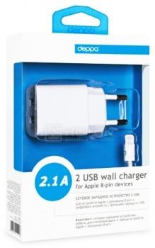 Сетевое зарядное устройство Deppa 11306 для Apple с разъемом Lightning (8-pin) Белый