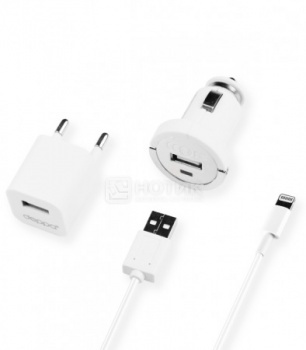 Автомобильное зарядное устройство + зарядное устройство ЗУ Deppa 11102 для Apple с разъемом Lightning (8-pin) Белый от Нотик
