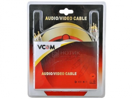 Кабель VCOM 3xRCA (M) - 3xRCA (M) High Quality PE Gold, 5м, Серебристый НОТИК 460.000