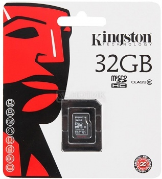 Карта памяти Kingston microSDHC 32Gb Class10 SDC10/32GBSP