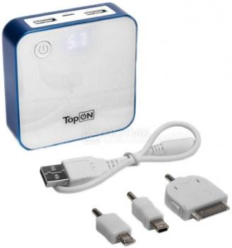 Универсальный компактный аккумулятор TopON TOP-QUAD/B для смартфонов, планшетов, цифровой техники, iPhone на 7800mAh, 29Wh Белый/Синий НОТИК 1490.000