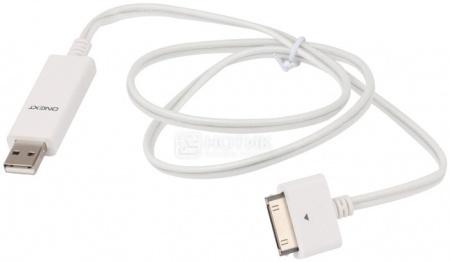 Кабель ONEXT 30-pin/USB светящийся, 1м, Белый/Синие диоды НОТИК 600.000