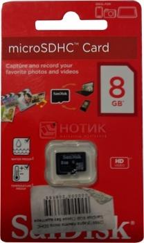 Карта памяти Sandisk microSDHC 8Gb Class4 SDSDQXP-008G-X46 НОТИК 300.000