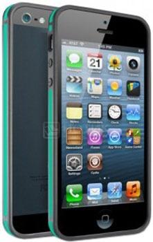 Чехол для iPhone 5 Deppa Slim Bumper Прорезиненный пластик, Черный/Зеленый НОТИК 250.000