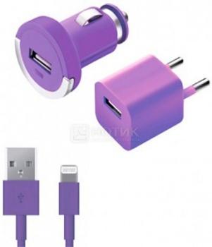 Автомобильное + сетевое ЗУ Deppa 11165 для Apple с разъемом Lightning (8-pin) Фиолетовый