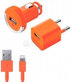Автомобильное + сетевое ЗУ Deppa 11163 для Apple с разъемом Lightning (8-pin) Оранжевый