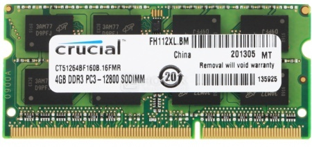 Модуль памяти Crucial SO-DDR3L 4096Mb (1 x 4096Mb) 1600MHz CT51264BF160B, арт: 29897 - Crucial