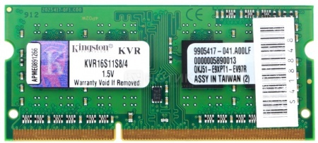 Модуль памяти SO-DDR3 1x4096Mb PC12800 1600MHz Kingston [KVR16S11S8/4] Retail НОТИК 1950.000