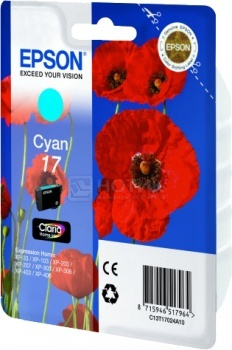 Картридж Epson 17  XP-33 103 203 207 303 306 403 406 голубой 150стр C13T17024A10 full specialized dye ink ciss for eposn t1711 t1701 for epson xp 313 xp 413 xp 103 xp 203 xp 207 xp 303 xp 306 xp 403 xp 406