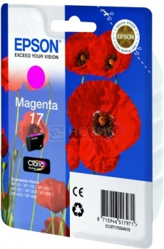 Картридж Epson 17  XP-33 103 203 207 303 306 403 406 пурпурный 150 стр C13T17034A10 full specialized dye ink ciss for eposn t1711 t1701 for epson xp 313 xp 413 xp 103 xp 203 xp 207 xp 303 xp 306 xp 403 xp 406