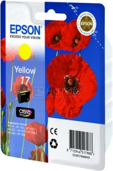 Картридж Epson 17  XP-33 103 203 207 303 306 403 406  желтый 150 стр C13T17044A10 full specialized dye ink ciss for eposn t1711 t1701 for epson xp 313 xp 413 xp 103 xp 203 xp 207 xp 303 xp 306 xp 403 xp 406