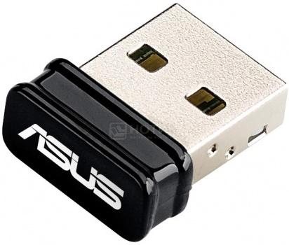Фотография товара адаптер Wi-Fi Asus USB-N10 Nano, стандарт Wi-Fi: 802.11 до 150 Мбит/с, Черный (30508)