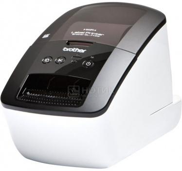 Принтер для наклеек Brother QL-710W авторезак,ширина лент до 62мм,до 93 наклеек/мин,110мм/сек,300т/д,ленты DK,WiFi,USB Белый QL710WR1