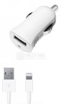 Автомобильное зарядное устройство Deppa 11250 для Apple с разъемом Lightning (8-pin), Белый