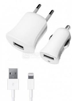 Автомобильное + сетевое ЗУ Deppa 11150 для Apple с разъемом Lightning (8-pin), Белый