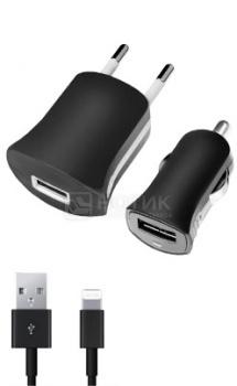 Автомобильное + сетевое ЗУ Deppa 11151 для Apple с разъемом Lightning (8-pin), Черный