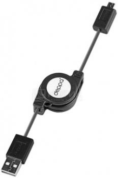 Кабель Deppa 72102 USB-microUSB с автосмоткой, 0,8м, Черный