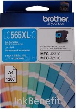 Картридж Brother LC-565XLC для MFCJ2310 2510 3520 3720 1200стр, Голубой LC565XLC