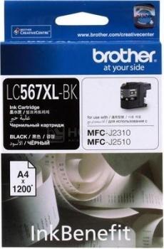 Картридж Brother LC-567XLBK для MFCJ2310 2510 3520 3720 Черный 1200стр LC567XLBK