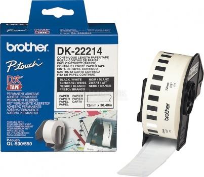 Белая бумажная клеящаяся лента Brother DK22214, ширина 12 мм (неразрезанная, рулон 30,48м)