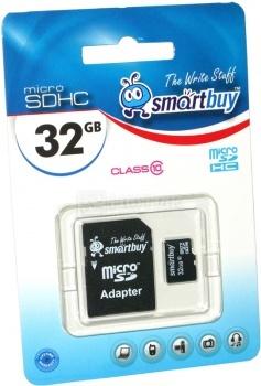 Карта памяти SmartBuy microSDHC 32Gb Class 10 SB32GBSDCL10-01 + adapter НОТИК 990.000