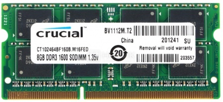 Модуль памяти Crucial SO-DIMM DDR3L 8192Mb (1 x 8192Mb) 1600MHz CT102464BF160B