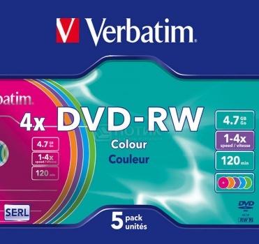 Оптический диск DVD-R Verbatim 4.7Гб 4x, 5шт., Slim color 43563 НОТИК 230.000