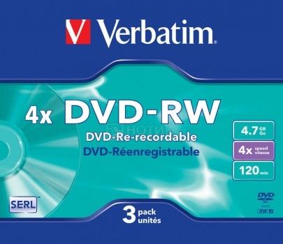 Оптический диск DVD-R Verbatim 4.7Гб 4x, 3шт., Slim case 43635 НОТИК 150.000