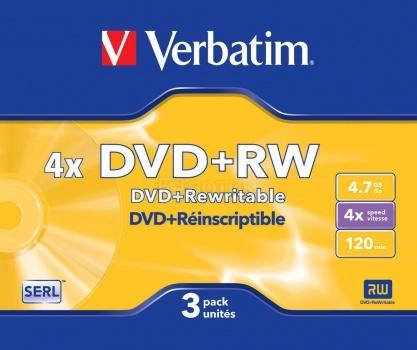 Оптический диск DVD+RW Verbatim 4.7Гб 4x, 3шт., Slim case 43636 НОТИК 150.000