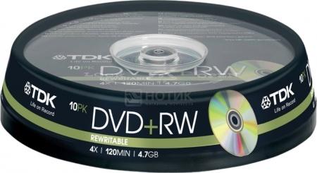 Оптический диск DVD+RW TDK 4.7Гб 4x, 10шт., Cake box T19524 НОТИК 300.000