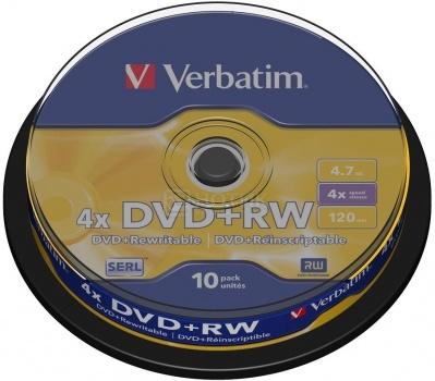 Оптический диск DVD+RW Verbatim 4.7Гб 4x, 10шт., Cake box 43488 НОТИК 320.000