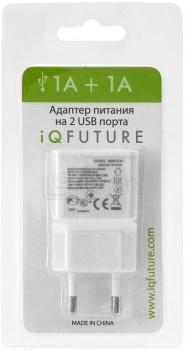 Зарядное устройство IQfuture ультракомпактное с двумя USB портами для iPhone, iPod IQ-DAC01, Белый