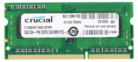 Модуль памяти Crucial SO-DDR3 2048Mb (1 x 2048Mb) 1600MHz CT25664BF160B от Нотик